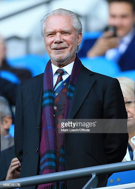 West Ham joint-Chairman David Gold looks on during the Barclays Premier League match between Manchester City and West Ham United at the Etihad...
