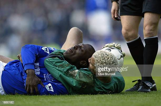 West Ham keeper David James has a word with Kevin Campbell of Everton during the FA Barclaycard Premiership match between Everton and West Ham United...