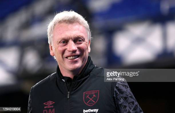 West Ham Manager, David Moyes looks on prior to the Premier League match between Everton and West Ham United at Goodison Park on January 01, 2021 in...