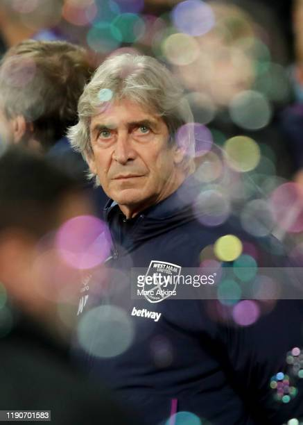 West Ham manager Manuel Pellegrini during the Premier League match between West Ham United and Leicester City at London Stadium on December 28 2019...