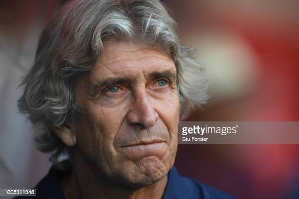 West Ham manager Manuel Pellegrini looks on during a friendly match between Aston Villa and West Ham United at Banks' Stadium on July 25 2018 in...