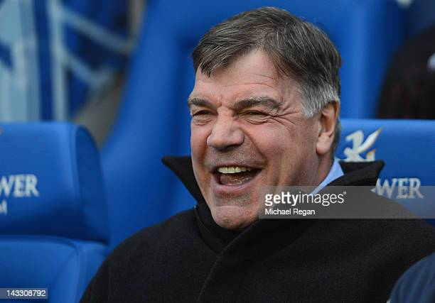 West Ham manager Sam Allardyce laughs before the npower Championship match between Leicester City and West Ham United at The King Power Stadium on...
