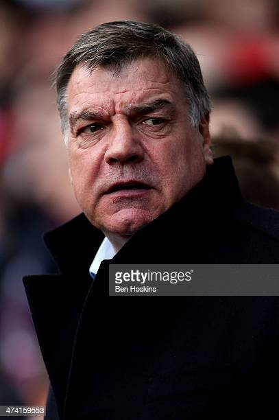 West Ham manager Sam Allardyce looks on prior to the Barclays Premier League match between West Ham and Southampton at Boleyn Ground on February 22...