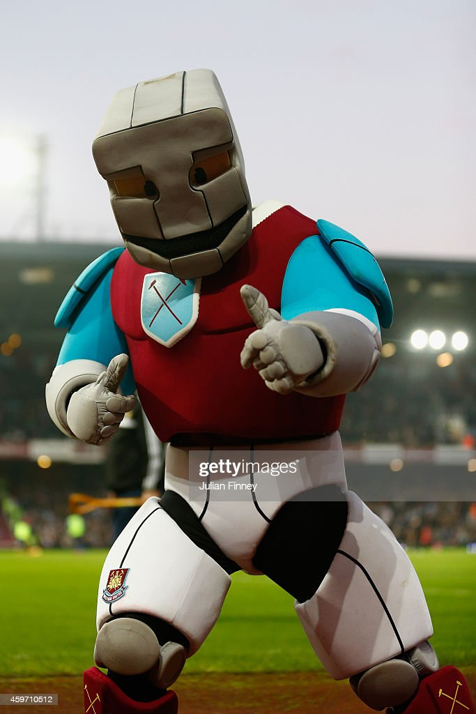 West Ham mascot, Hammerhead during the Barclays Premier League match between West Ham United and Newcastle United at Boleyn Ground on November 29, 2014 in London, England.