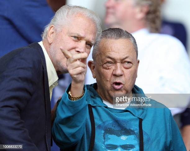 West Ham owner David Sullivan speaks with David Gold during the Pre-Season Friendly match between Ipswich Town and West Ham United at Portman Road on...