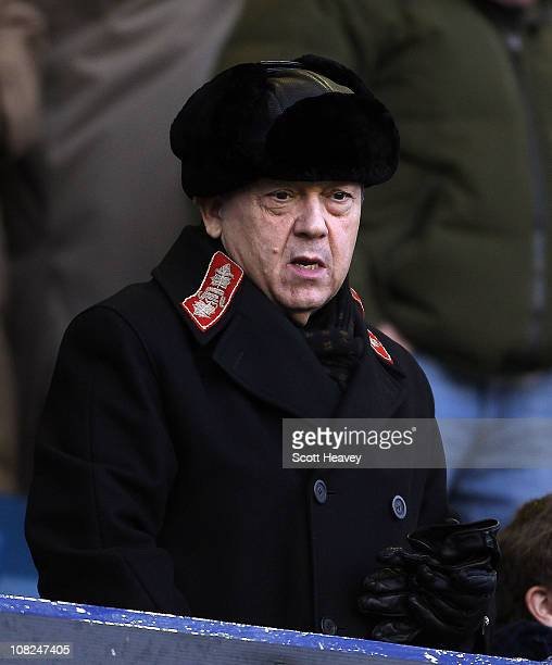 West Ham owner David Sullivan watches from the stands before the Barclays Premier League match between Everton and West Ham United at Goodison Park...