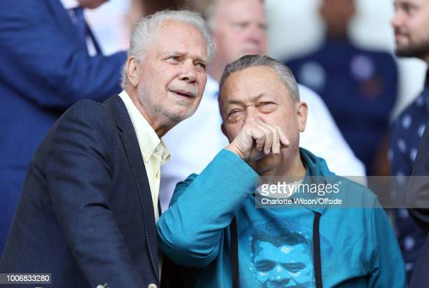 West Ham owners David Gold and David Sullivan during the Pre-Season Friendly match between Ipswich Town and West Ham United at Portman Road on July...