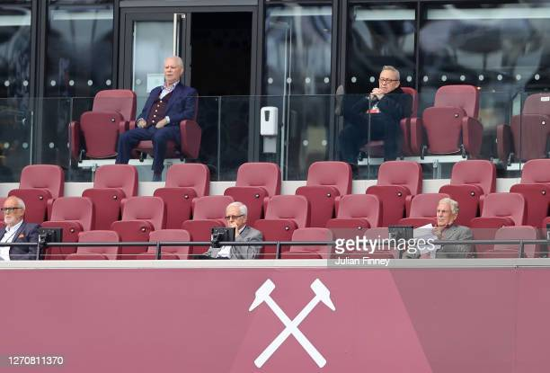 West Ham owners David Gold and David Sullivan watch on during the pre-season friendly match between West Ham United and AFC Bournemouth at London...