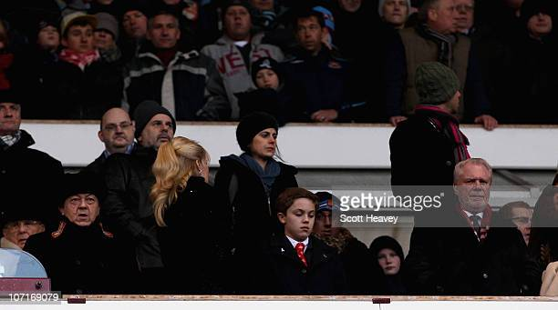 West Ham owners David Sullivan and David Gold watch the Barclays Premier League match between West Ham United and Wigan Athletic at Boleyn Ground on...