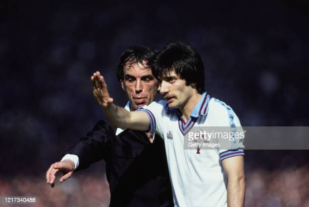 West Ham player Alan Devonshire makes a point to referee George Courtney during the 1980 FA Cup Final against Arsenal at Wembley Stadium on May 10...