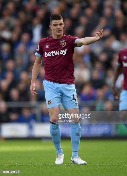 West Ham player Declan Rice reacts during the Premier League match between Everton FC and West Ham United at Goodison Park on September 16 2018 in...