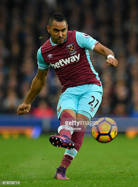 West Ham player Dimitri Payet in action during the Premier League match between Everton and West Ham United at Goodison Park on October 30 2016 in...