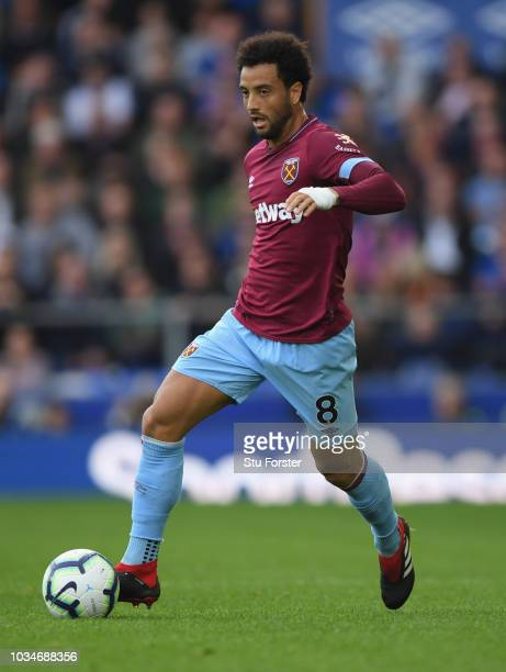 West Ham player Felipe Anderson in action during the Premier League match between Everton FC and West Ham United at Goodison Park on September 16...