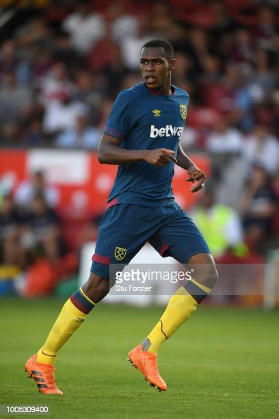 West Ham player Issa Diop in action during a friendly match between Aston Villa and West Ham United at Banks' Stadium on July 25 2018 in Walsall...