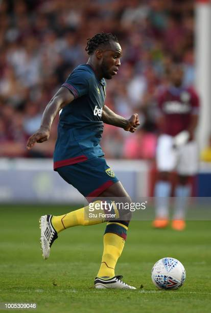 West Ham player Michail Antonio in action during a friendly match between Aston Villa and West Ham United at Banks' Stadium on July 25 2018 in...