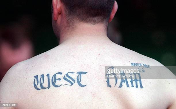 West Ham supporter shows his back at the end of the Nationwide Division One play off West Ham vs Crystal Palace at Cardiff's Millennium Stadium 29...