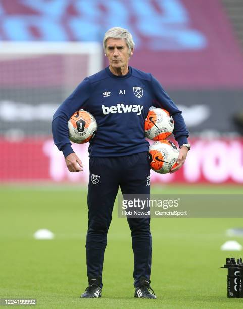 West Ham United Assistant Alan Irvine during the Premier League match between West Ham United and Chelsea FC at London Stadium on July 1, 2020 in...