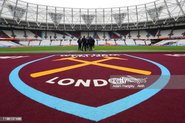 West Ham United badge on the side of the pitch at The London Stadium home of West Ham United during the FA Cup Fourth Round match between West Ham...