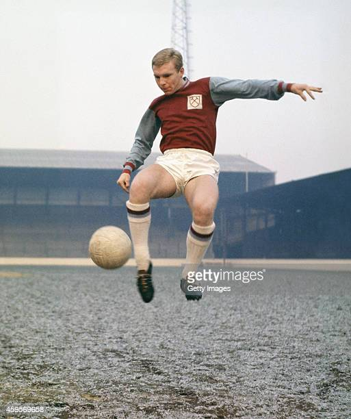 West Ham United captain Bobby Moore pictured at Upton Park in 1965 in London England Moore made over 500 appearances for the East London side as well...