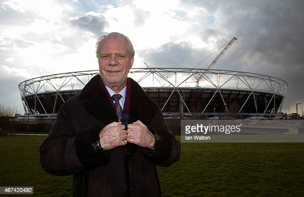 West Ham United Chairman David Gold poses for photographers outside the olympic stadium during a Lycamobile & West Ham United Partnership...
