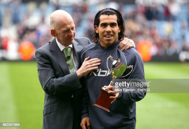 West Ham United Chairman Eggert Magnusson with Player of The Year Carlos Tevez