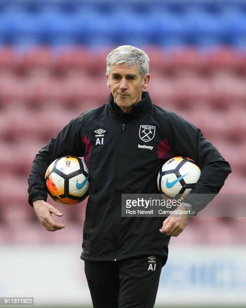 West Ham United coach Alan Irvine during the The Emirates FA Cup Fourth Round match between Wigan Athletic and West Ham United at DW Stadium on...