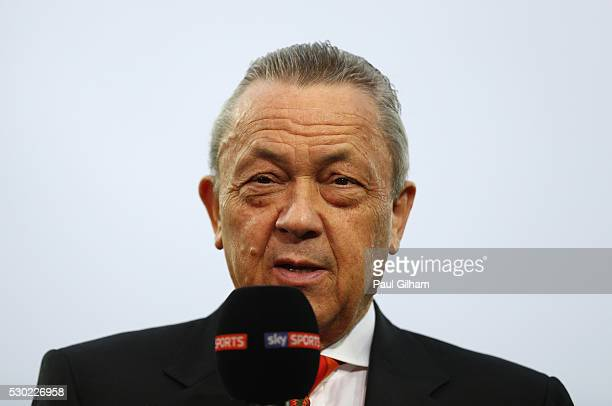 West Ham United cochairman David Sullivan is interviewed prior to the Barclays Premier League match between West Ham United and Manchester United at...