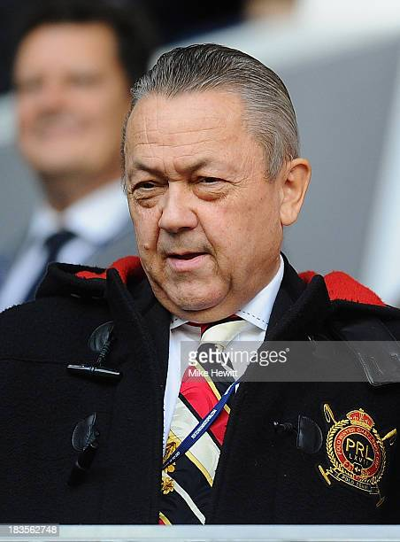 West Ham United co-owner David Sullivan looks on during the Barclays Premier League match between Tottenham Hotspur and West Ham United at White Hart...