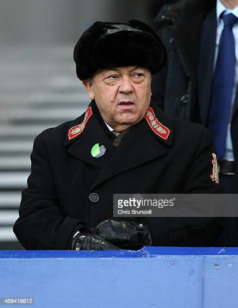 West Ham United coowner David Sullivan looks on during the Barclays Premier League match between Everton and West Ham United at Goodison Park on...