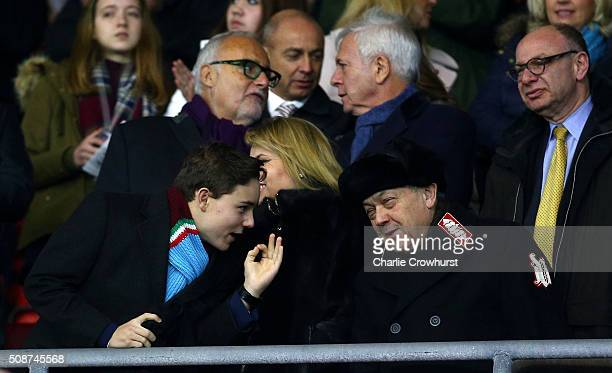 West Ham United coowner David Sullivan looks on prior to the Barclays Premier League match between Southampton and West Ham United at St Mary's...