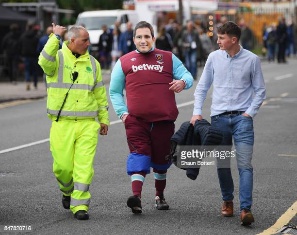 West Ham United fan with a Frank Lampard mask arrives at the stadium prior to the Premier League match between West Bromwich Albion and West Ham...