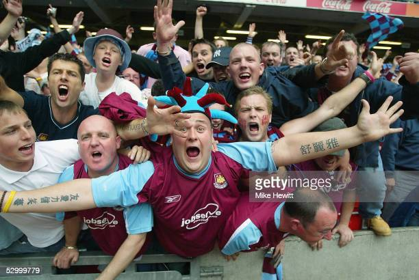 West Ham United fans celebrate promotion to the Premiership in the CocaCola Championship PlayOff Final between West Ham United and Preston North End...