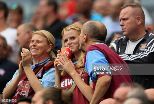West Ham United fans look on prior to the Premier League match between West Ham United and Tottenham Hotspur at London Stadium on September 23 2017...
