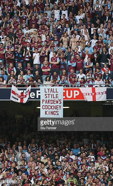 West Ham United fans pay tribute to former manager John Lyall during the FA Cup Final match between Liverpool and West Ham United at the Millennium...