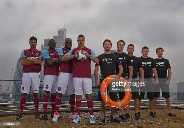 West Ham United firstteam players Jordan Spence Guy Demel Mohammed Diame Winston Reid and former world champion skipper Adam Minoprio David Swete...