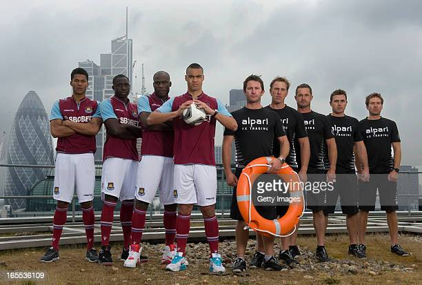 West Ham United firstteam players Jordan Spence Guy Demel Mohammed Diame Winston Reid and former world champion skipper Adam Minoprio David Swete...