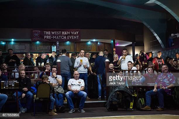 West Ham United Football Club fans attend a prematch event at the East Ham Working Men's Club in Upton Park on December 3 2016 in London England West...