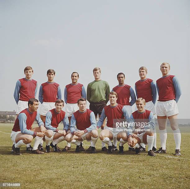 West Ham United football squad posed together in August 1966 prior to the start of the 19661967 season Back row from left to right Martin Peters...