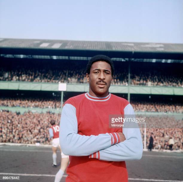 West Ham United footballer Clyde Best poses before a league match at Upton Park. March 1970.