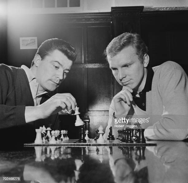 West Ham United footballers Johnny Byrne and Bobby Moore playing chess UK 27th February 1964