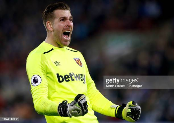West Ham United goalkeeper Adrian celebrates team mate Marko Arnautovic's second goal of the game during the Premier League match at the John Smith's...