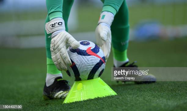 West Ham United goalkeeper Darren Randolph collectts the ball from the covid cone during the Premier League match between Manchester City and West...