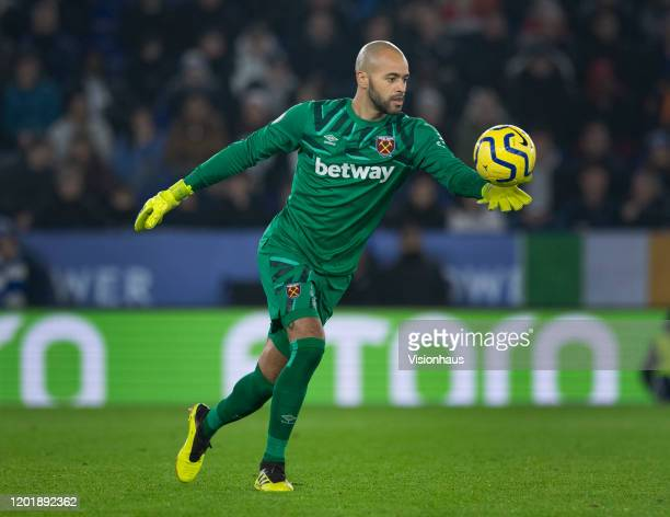 West Ham United goalkeeper Darren Randolph in action during the Premier League match between Leicester City and West Ham United at The King Power...