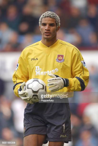West Ham United goalkeeper David James during the FA Barclaycard Premiership match between West Ham United and Aston Villa at Upton Park in London on...
