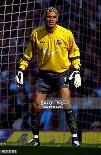 West Ham United goalkeeper David James in action during the FA Barclaycard Premiership match between West Ham United and Middlesbrough held on April...
