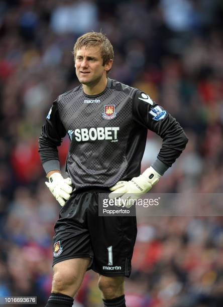 West Ham United goalkeeper Robert Green looks on during the Barclays Premier League match between Manchester United and West Ham United at Old...
