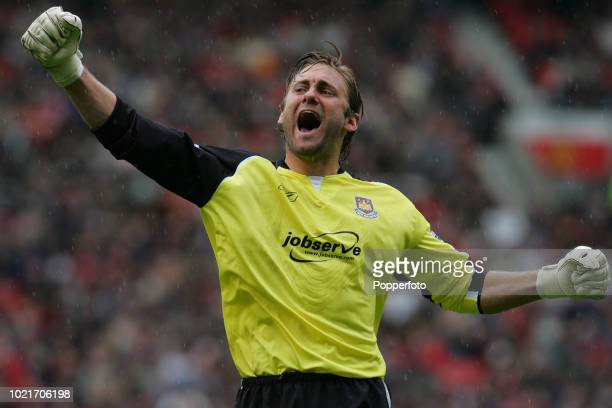 West Ham United goalkeeper Robert Green reacts during the Barclays Premiership match between Manchester United and West Ham United at Old Trafford in...