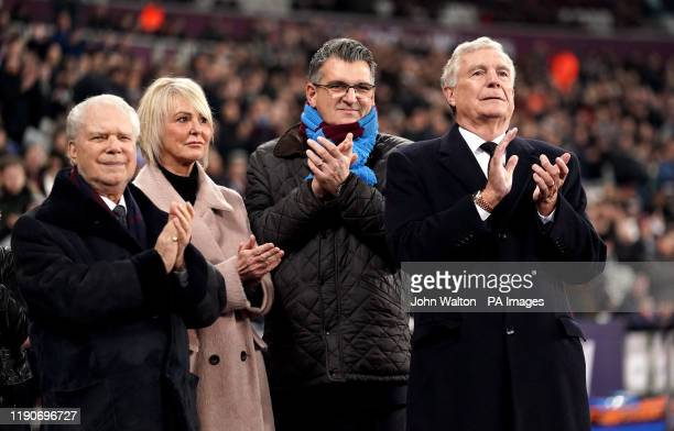 West Ham United joint chairman David Gold and Sir Trevor Brooking during the Premier League match at London Stadium.