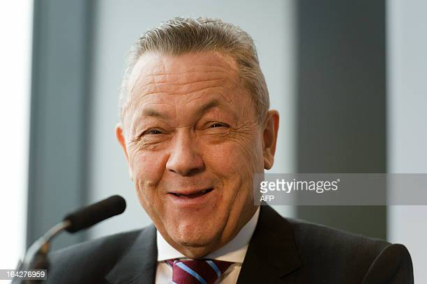 West Ham United Joint Chairman David Sullivan listens to a question during a press conference in east London to announce the new deal between Newham...