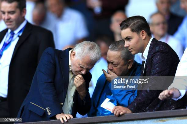 West Ham United Joint Chairmen David Gould, David Sullivan and his son Jack Sullivan look on during the pre-season friendly match between Ipswich...